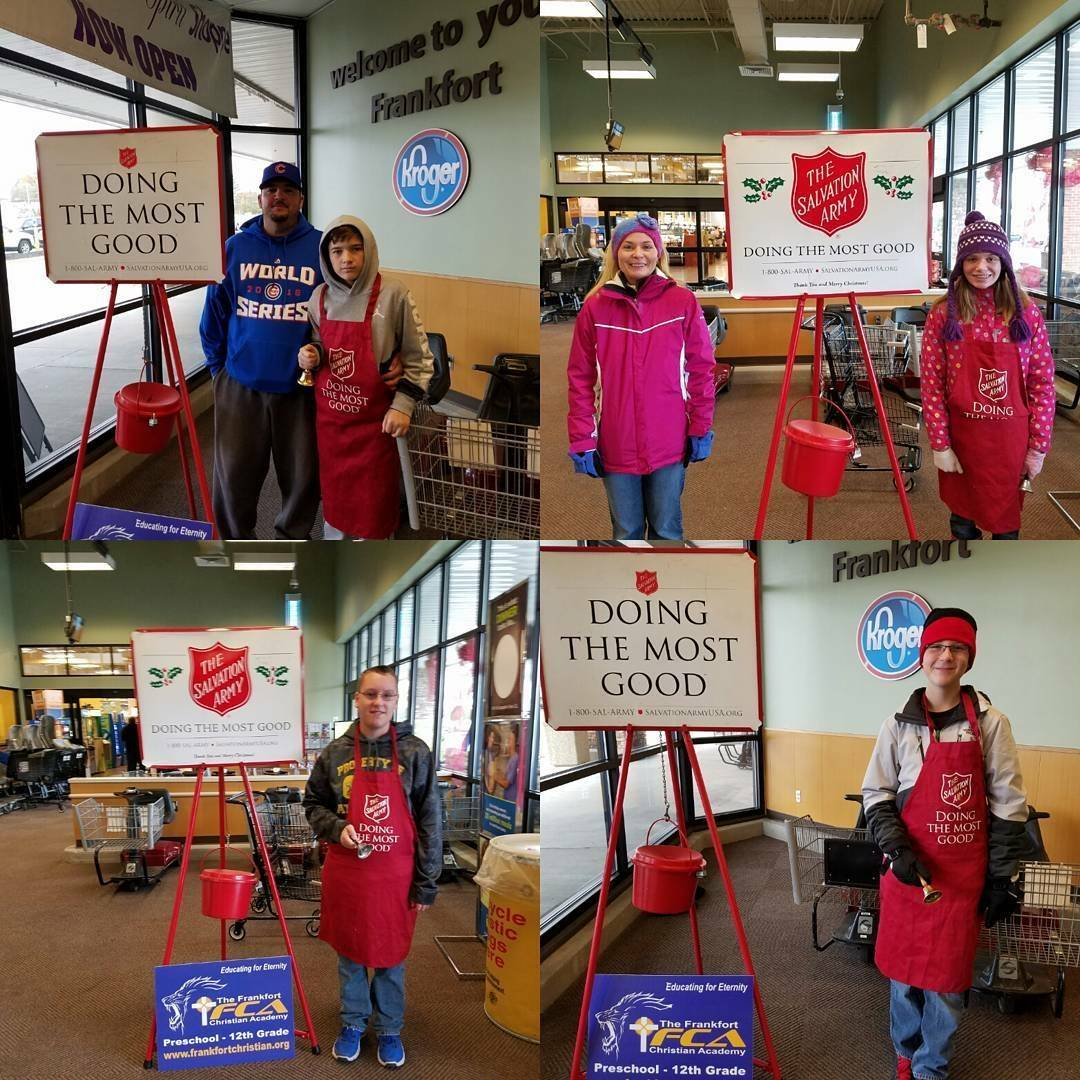 Students volunteering at Kroger