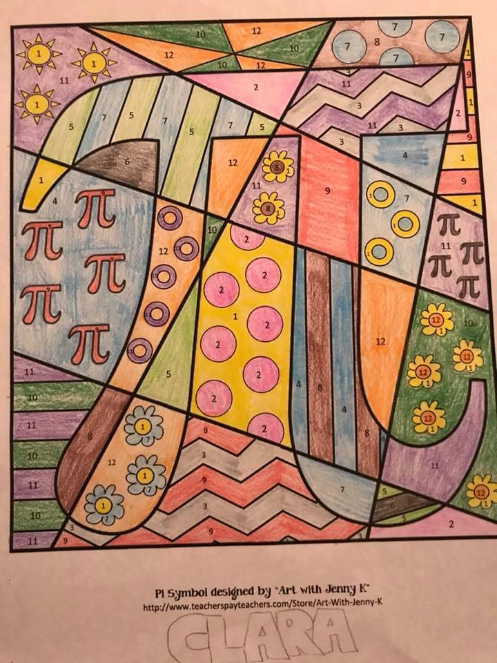 A color-by-number pi picture
