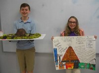 Students with volcano science project