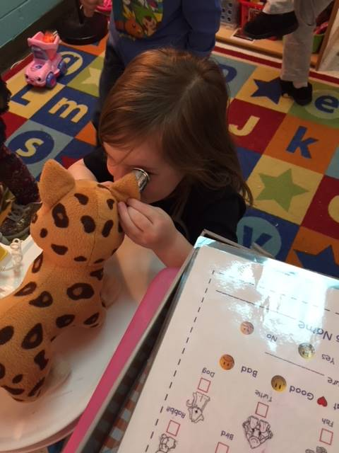 preschool investigating stuffed animal